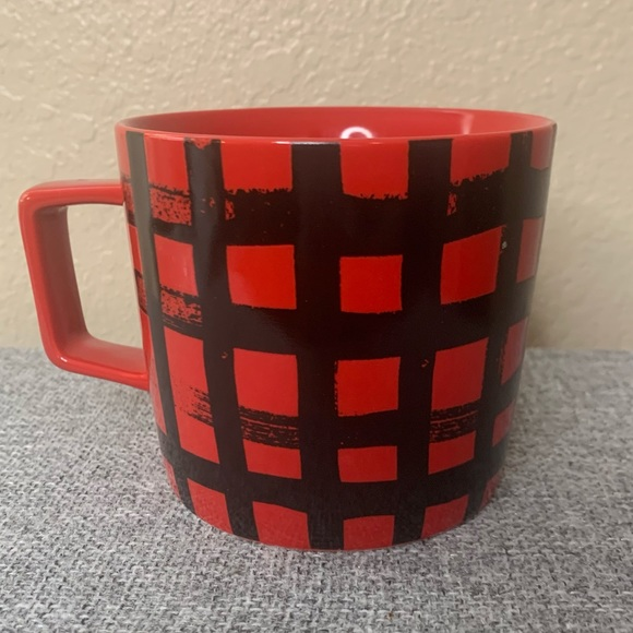 Starbucks Coffee Mug Red Black Plaid Square Handle